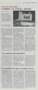 Article du Télégramme, Conseil Municipal du 23 avril